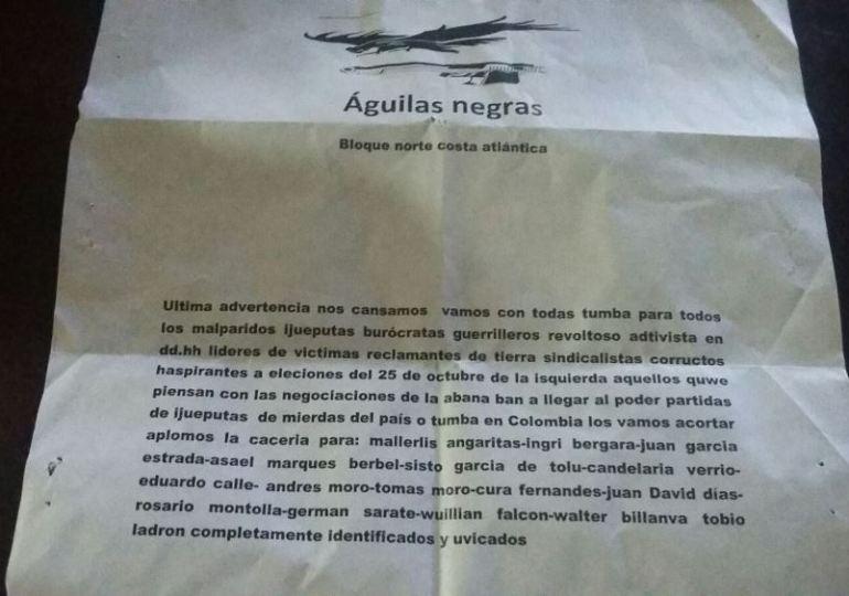Águilas Negras amenazan a defensores de DDHH de la Costa Atlántica