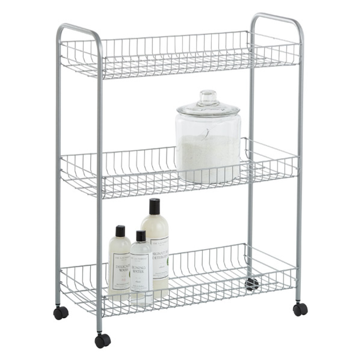 silver 3-tier grande rolling cart | the container store