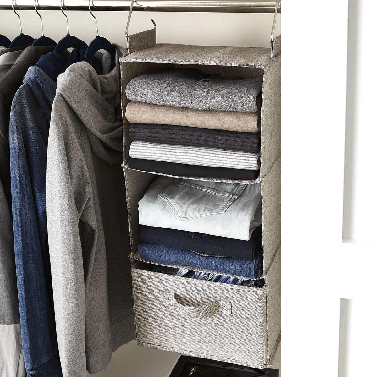 Grey 3 Compartment Hanging Sweater Organizer The Container