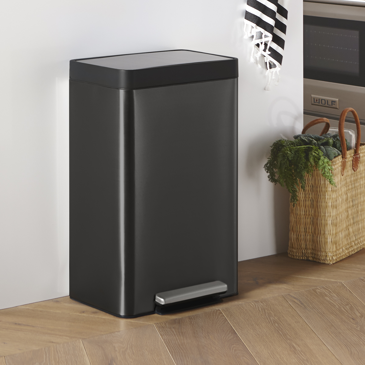 Kohler Black Stainless Steel 13 Gal Step Trash Can The Container Store