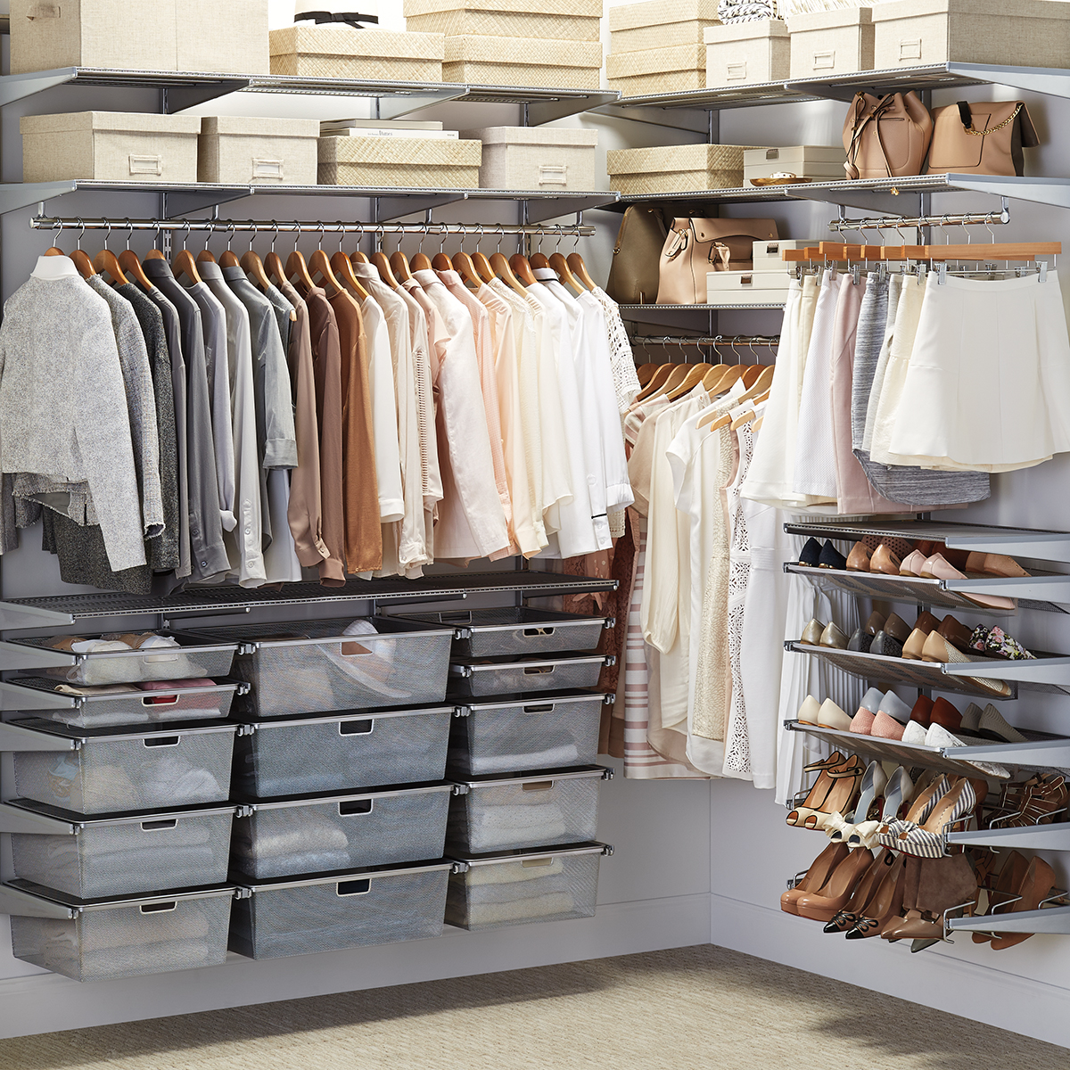 Elfa Classic 6 Platinum Walk In Closet