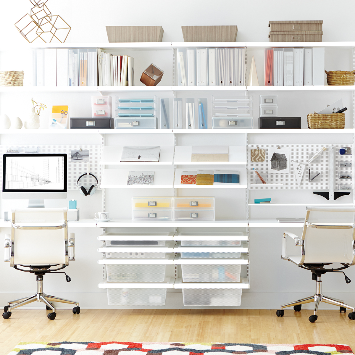 White Elfa Decor Office