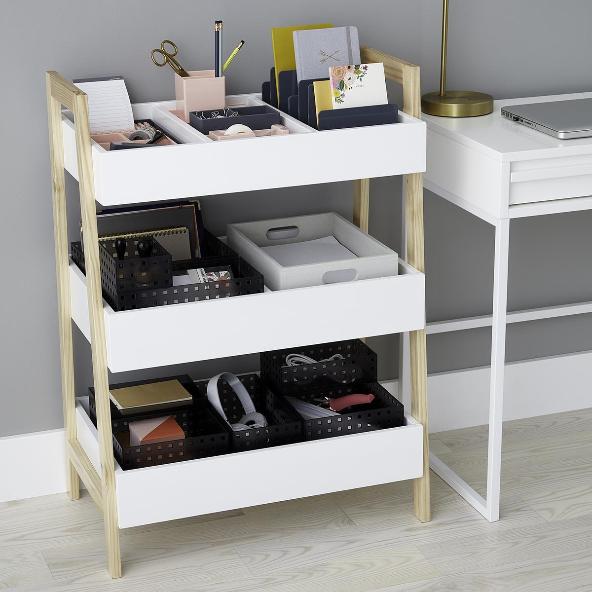 White Multi Purpose 3 Tier Shelf The Container Store