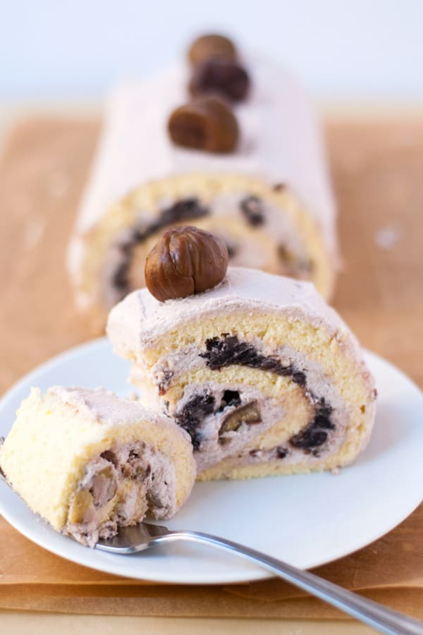 Red bean chestnut roll cake