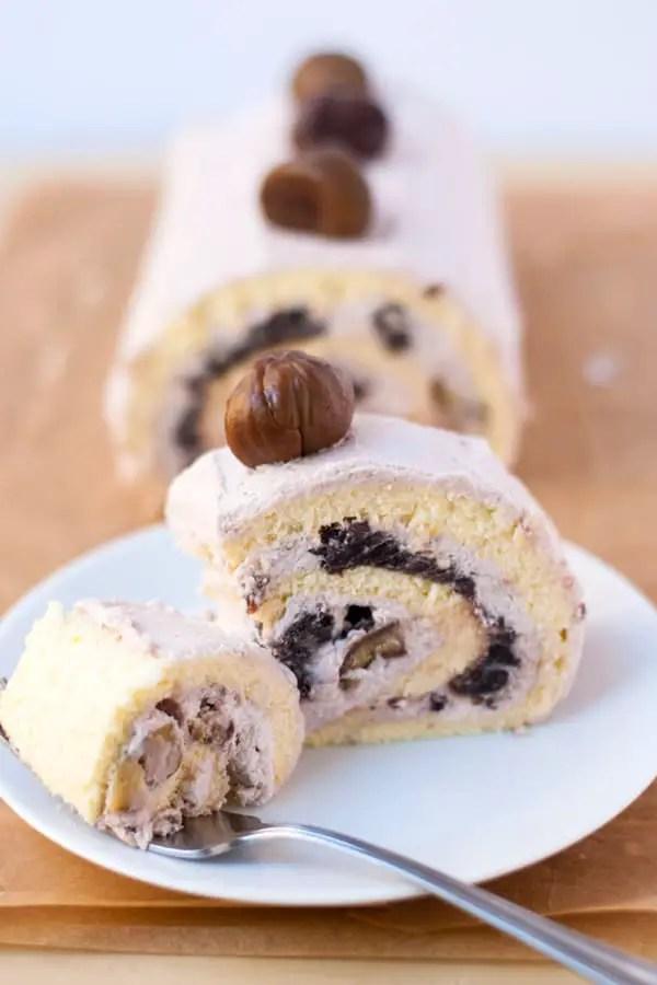 Red bean chestnut roll cake