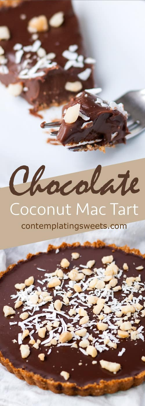 Chocolate ganache tart with macadamia and coconut