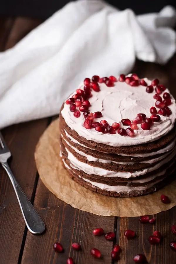 Chocolate Stovetop Cake with Pomegranate Cream