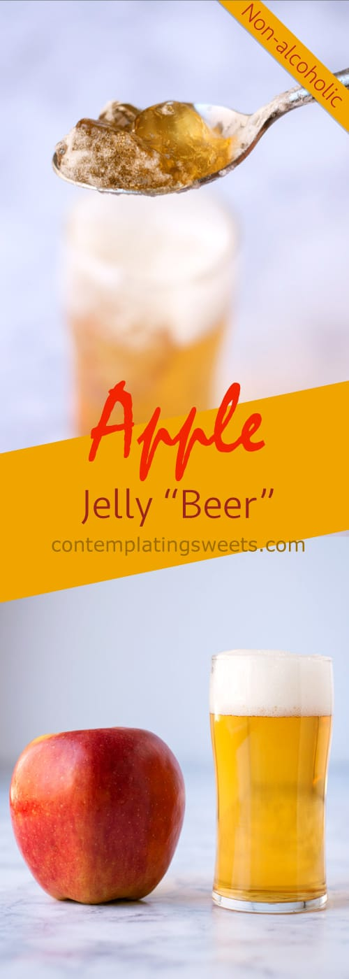 "Apple Jelly ""Beer""- this non-alcoholic apply jelly ""beer"" is made with just a few simple ingredients and looks JUST. LIKE. BEER. It is easy, fun, and quick to make."