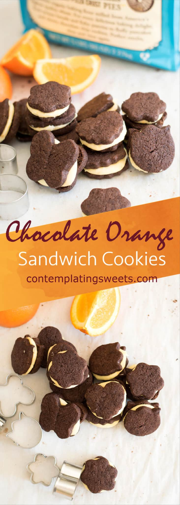 These adorable chocolate orange sandwich cookies have an intense chocolate flavor that pairs perfectly with the fresh orange buttercream.