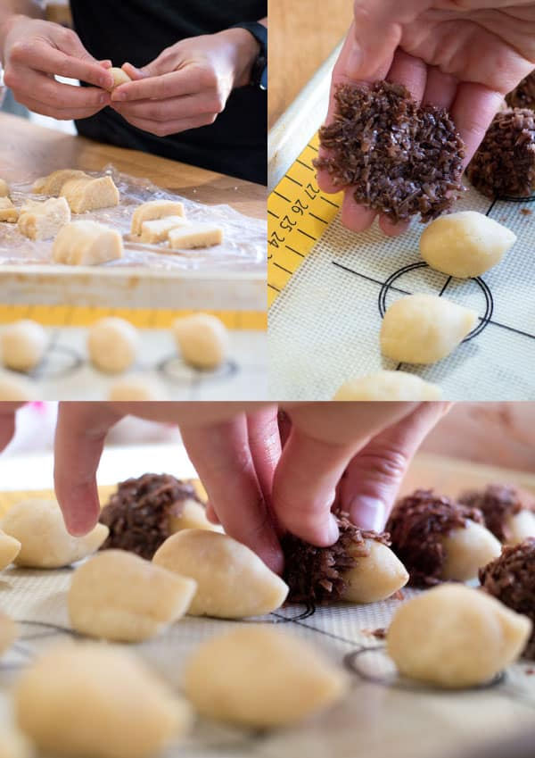 Collage of steps in making cookies. Shape cookie dough, cover with coconut mixture, and shape around it.