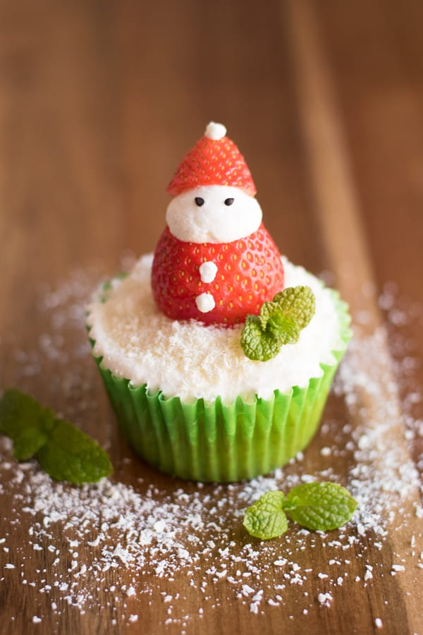 These adorable cupcake toppers are easy to put together, and taste delicious. Santa cupcakes are sure to be a hit at any Christmas party!