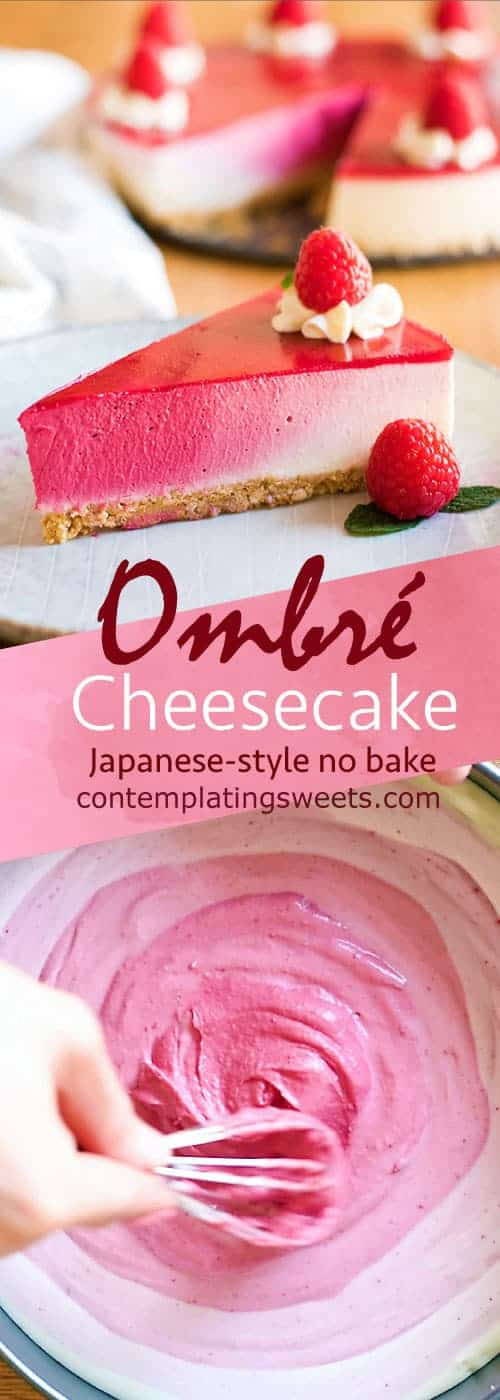 A perfect pink ombré cheesecake that doesn't require any baking! This cheesecake is colored completely naturally, with freeze dried raspberries!