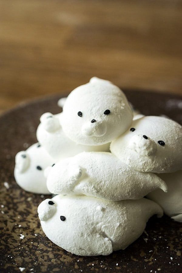 Baby seal marshmallows piled on a plate