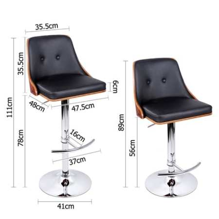 Retro Wooden Bar Stool Black
