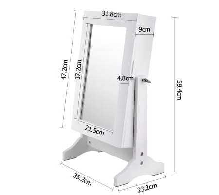 Table top Jewellery Cabinet w/ Mirror White