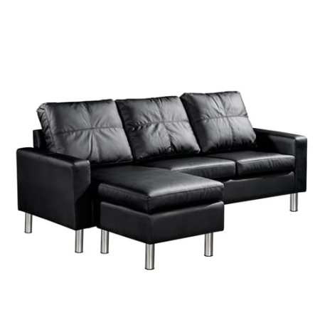 Julie Sofa 4 Seater with Ottoman Black