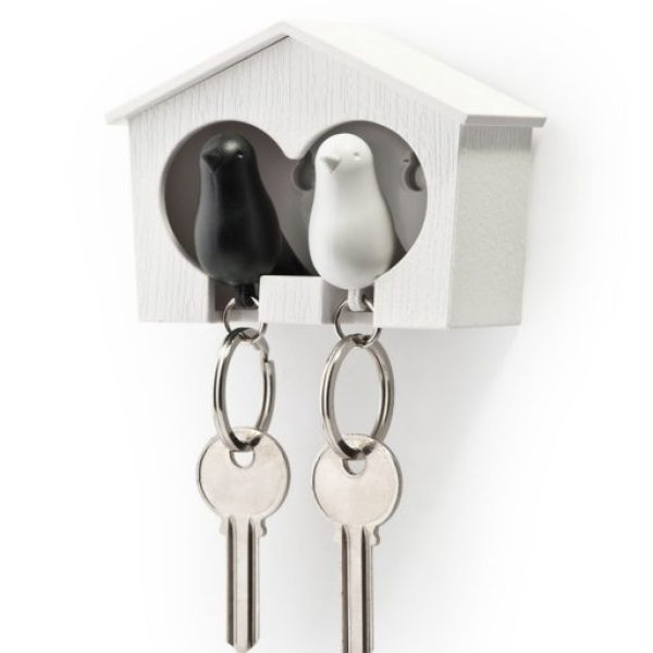 Qualy Duo Black Sparrow Key Ring and Holder