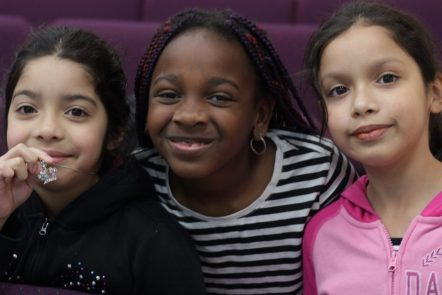 three young girls with different skin tones