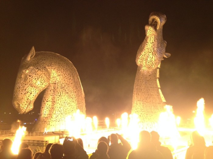 Image of the Kelpies, by Andy Scott, from 'Home: the celebratory opening of the Kelpies at Helix Park, Falkirk'. Reproduced by permission of the Scottish Journal of Performance. Image by Claire Warden.