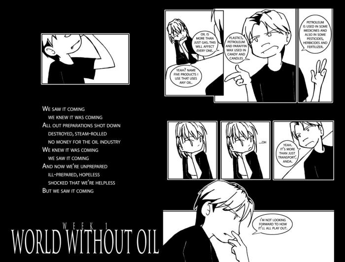 World Without Oil webcomic by Player Anda. Artwor: Anda (Jennifer Delk). Sourced under fair use from http://anda-sf.livejournal.com/2007/05/04/.
