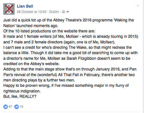 Lian Bell's first Facebook post on the issue of gender equity in the Abbey Theatre's 2015 artistic programme.