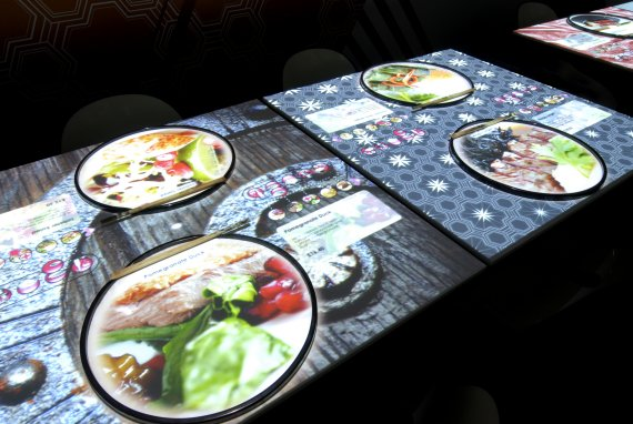 The interactive menu displayed on your table