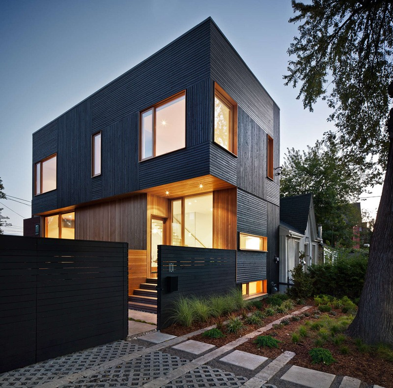 Black Siding With Natural Wood Accents For This Toronto ... on Modern House Siding  id=99053