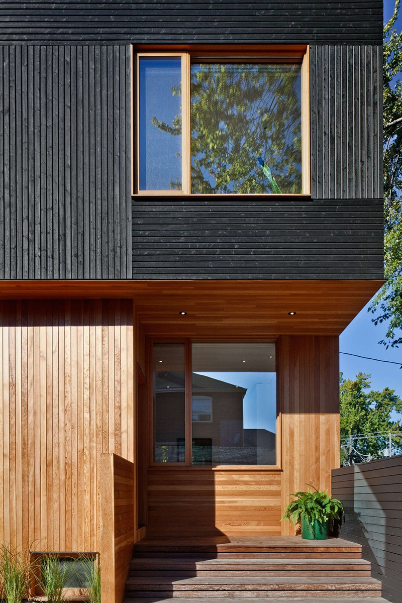 Black Siding With Natural Wood Accents For This Toronto ... on Modern Siding  id=53564