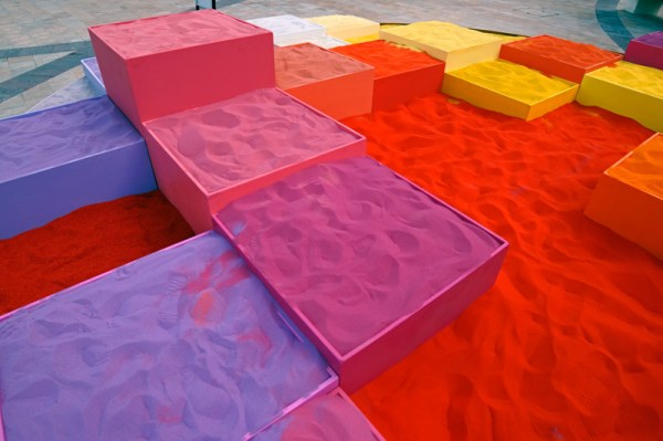 30 tons of colored sand was used to create this art