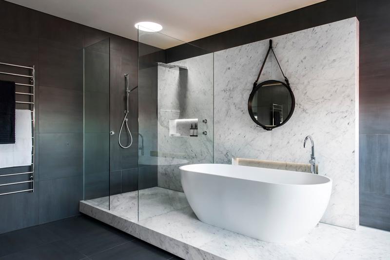 12 Photos Of An Understated Elegant Monochromatic Bathroom ... on Monochromatic Bathroom Ideas  id=98267