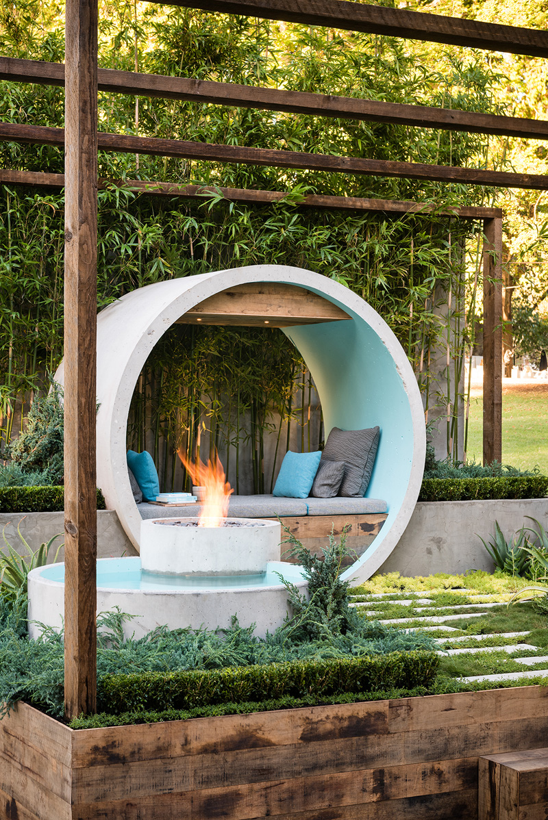 This award winning garden design uses concrete pipes to ... on Dream Backyard Ideas id=90672