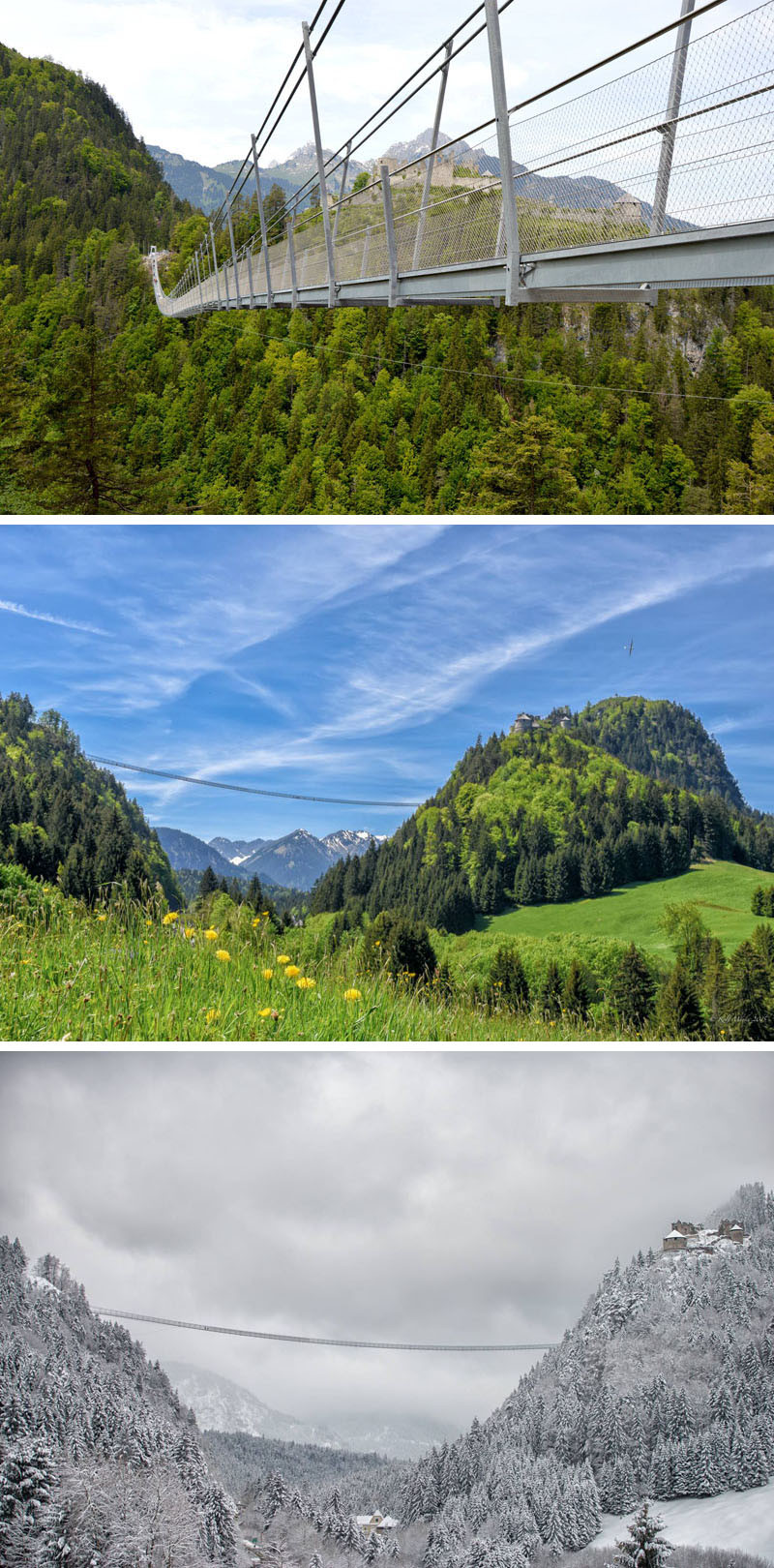 10 Of The Most AMAZING Suspension Bridges In The World // Highline179, in Reutte, Austria, is the longest pedestrian suspension bridge in the world.