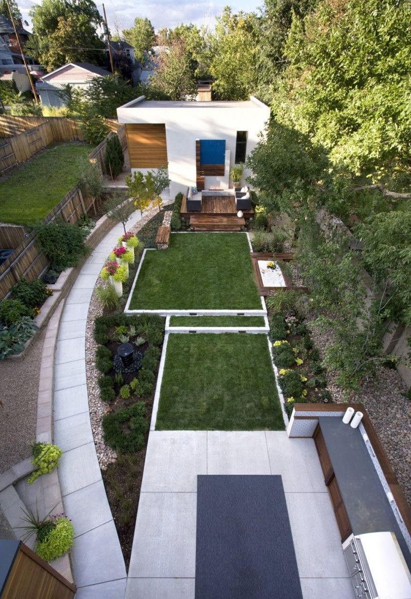 16 Inspirational Backyard Landscape Designs As Seen From Above on Narrow Backyard Landscaping Ideas  id=63969