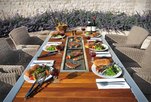 This outdoor table / grill combination makes summer bbqs an entertaining event.
