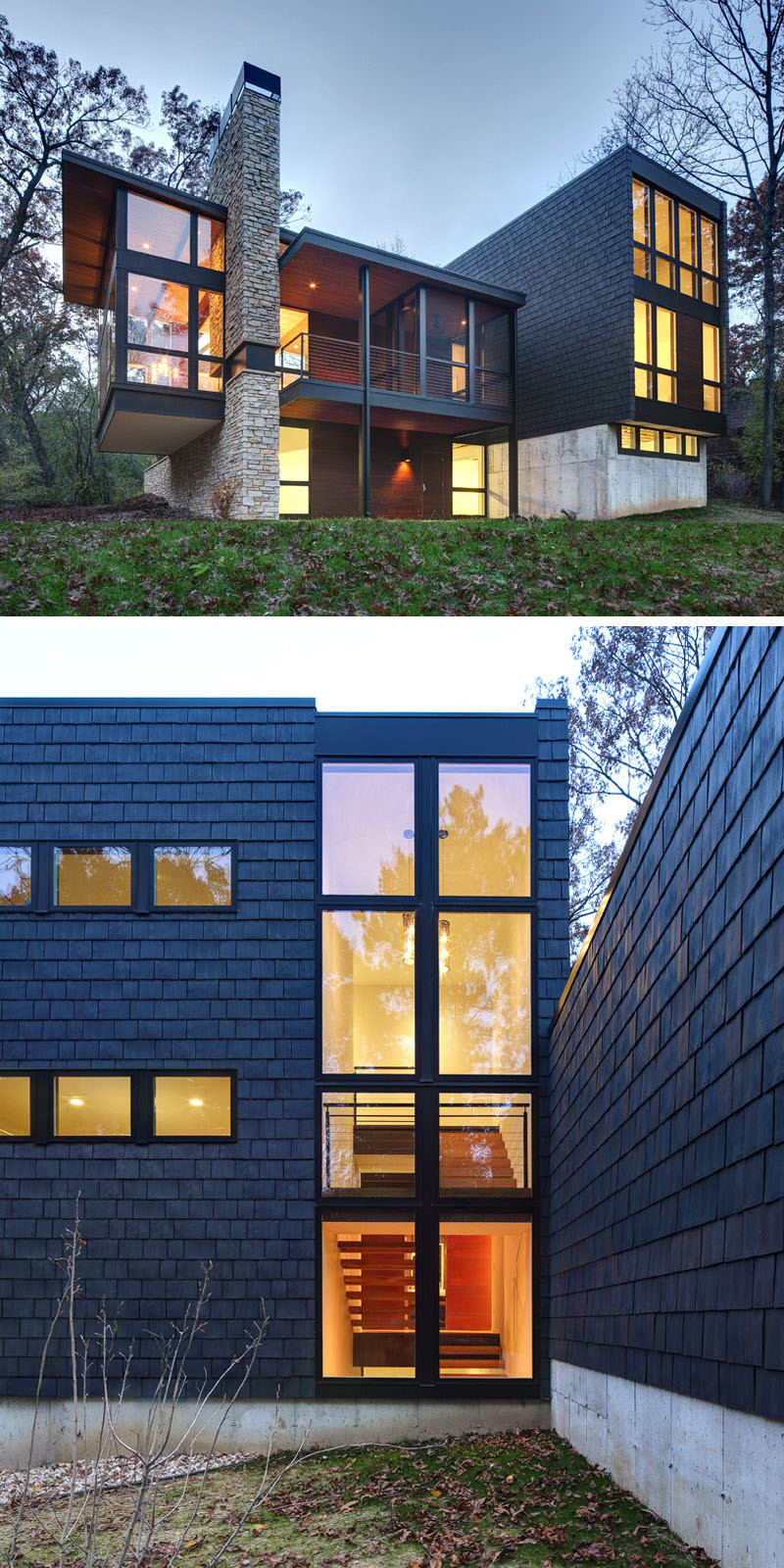13 Examples Of Modern Houses With Wooden Shingles ... on Modern House Siding  id=49838
