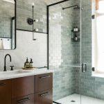 Bathroom Inspiration Green Tile Dark Wood Marble Black Frames And Fixtures