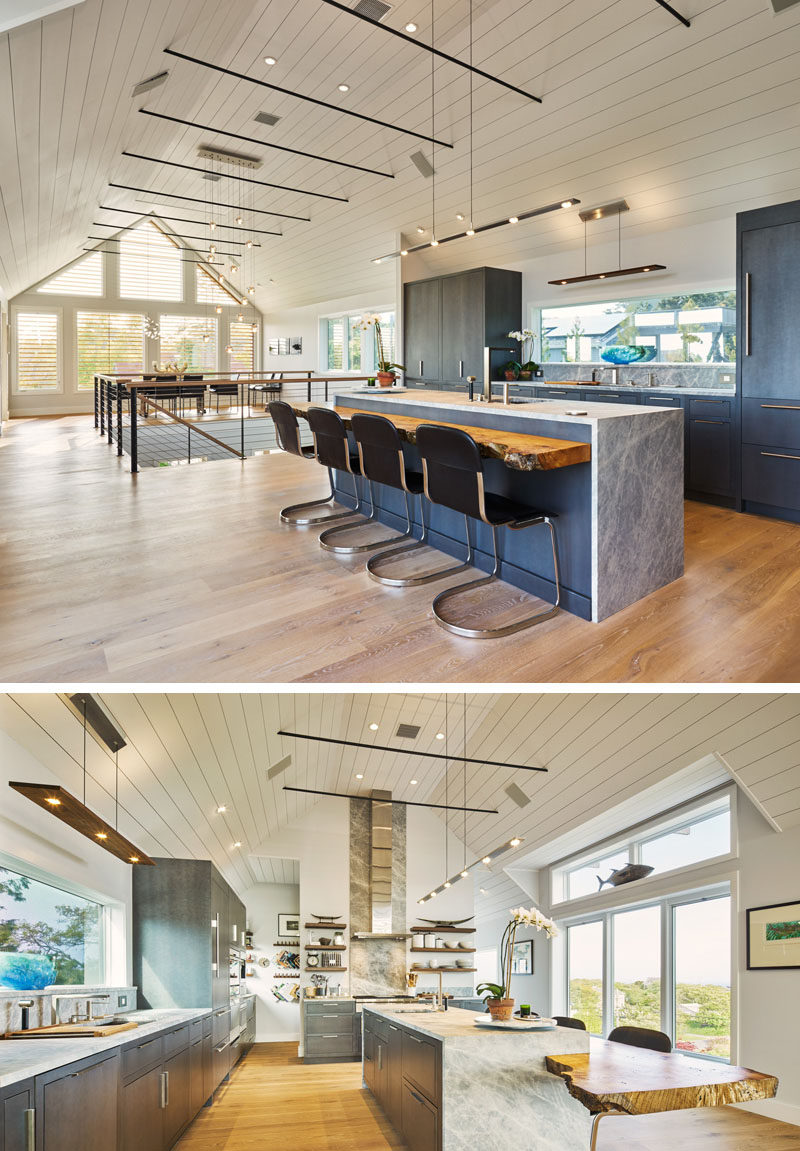 Kitchen Island Lighting Idea Use One Long Light Instead
