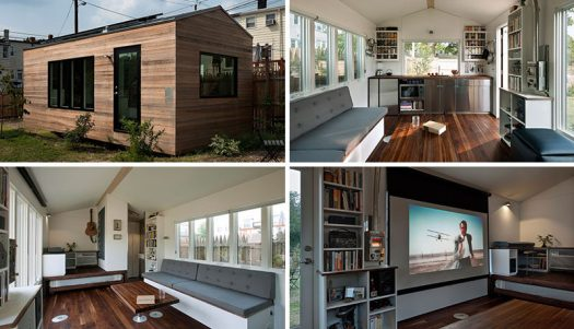This Small House Is Filled With Design Ideas To Maximize Living. This tiny home measures in at just 210 square feet, and has everything you need, a kitchen, living room, music studio/office, bed and bathroom.