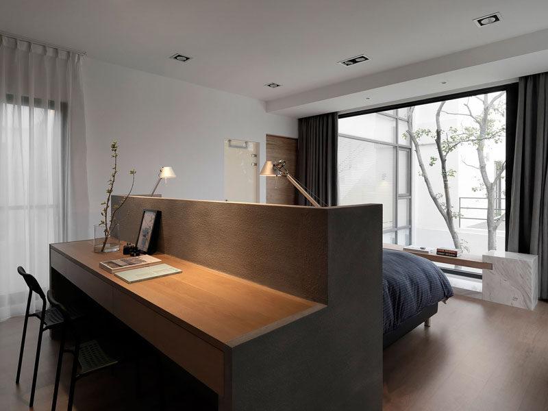 Bedroom Design Idea A Desk Built Into The Back Of The