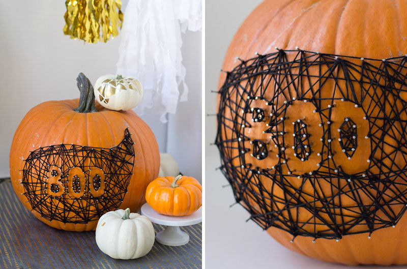 13 Modern DIY Halloween Pumpkin Ideas // The designs you can make using nails and string on a pumpkin are nearly endless and are so much easier than fighting with a knife to get curved lines.