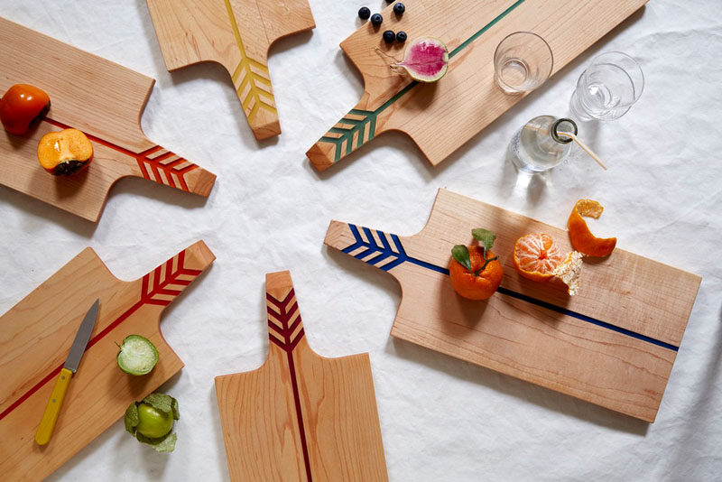 Gift Ideas For People Who Love To Cook // These cutting boards made from maple and colored resin make for both a solid cutting surface or a stylish food platter.
