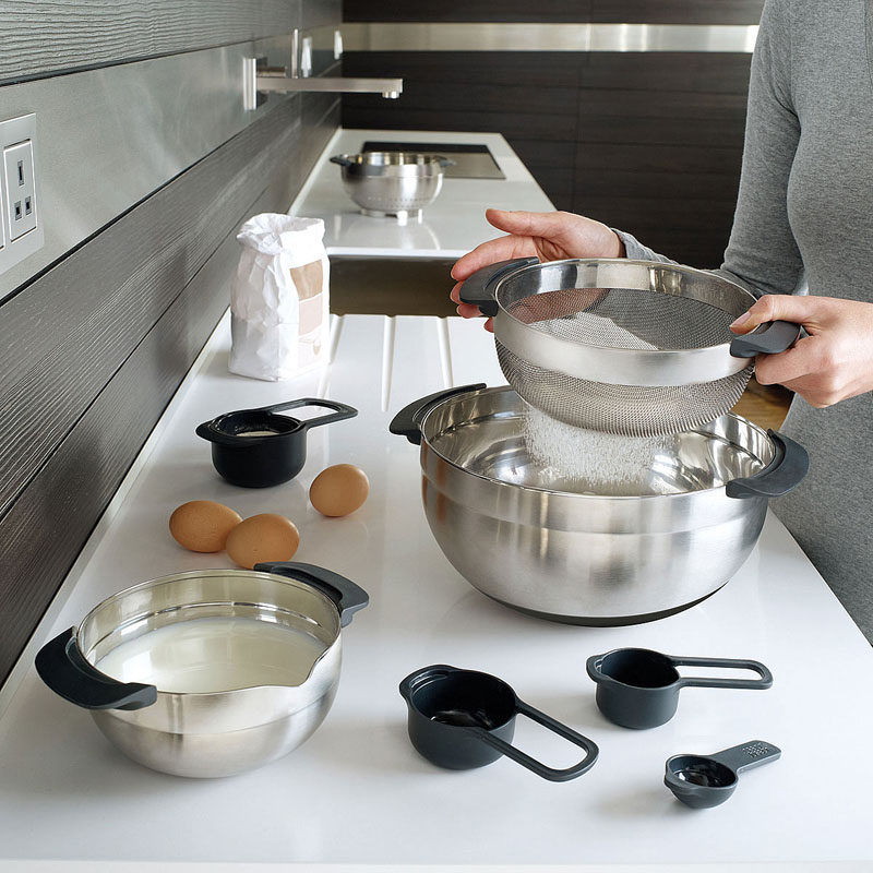 Gift Ideas For People Who Love To Cook // These bowls, colander, and measuring cups all stack on top of and inside of each other to make for convenient storage and to ensure that you have all of the essentials with reach.