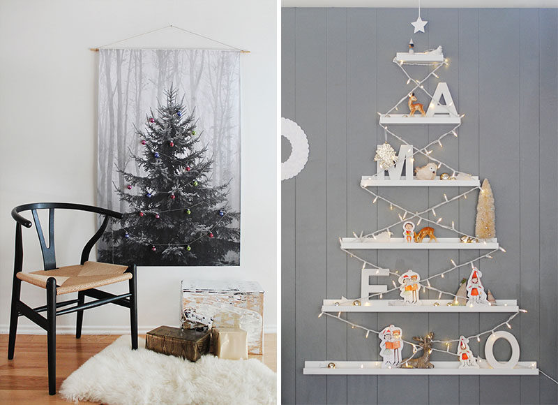 Christmas Decor Ideas - 14 DIY Alternative Modern Christmas Trees // Creating a Christmas tree alternative can be as simple as printing out a large photo of one and decorating it with small ornaments or hanging picture ledges and filling with your favorite family photos.