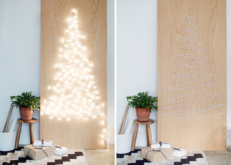 "Christmas Decor Ideas - 14 DIY Alternative Modern Christmas Trees // This Christmas tree alternative might be simple but it certainly makes a statement when the strings of lights are plugged in and the ""tree"" is all lit up."