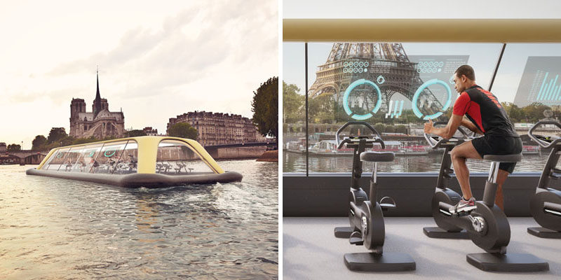 A group of designers have proposed the Paris Navigating Gym - a fitness center on a boat that uses human energy to propel the boat down the Seine River.