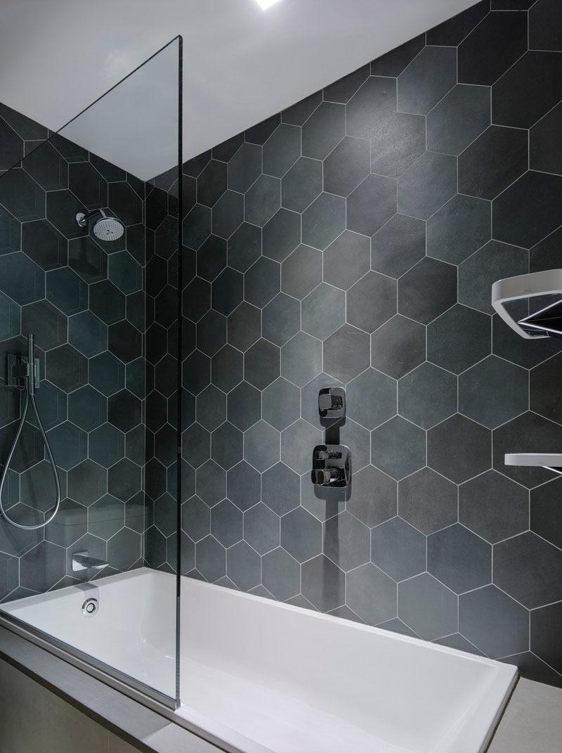bathroom tile ideas grey hexagon tiles
