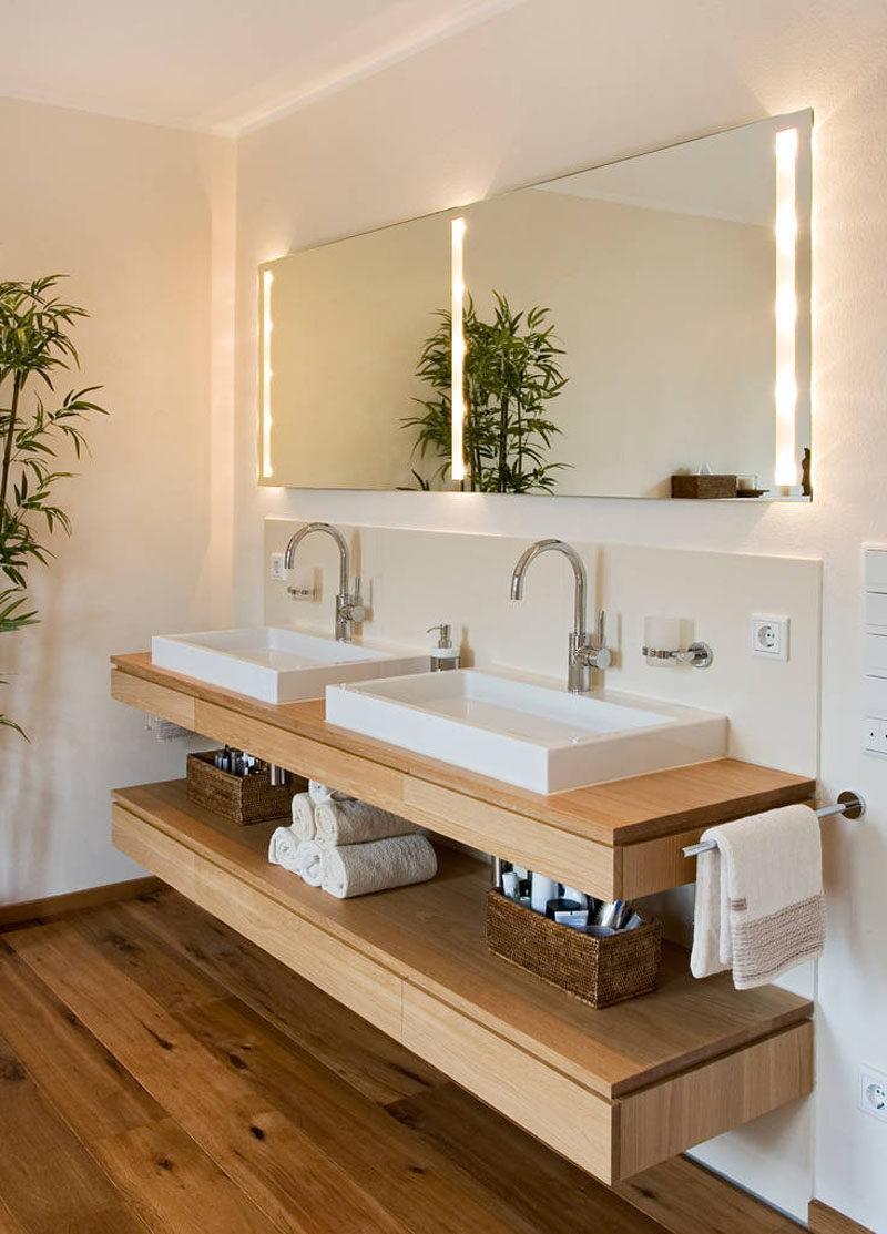 bathroom vanity idea an open shelf