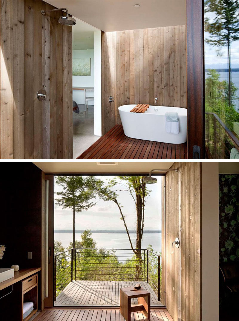 Bathroom Design Idea - Create a Spa-Like Bathroom At Home // Include luxurious wood details.