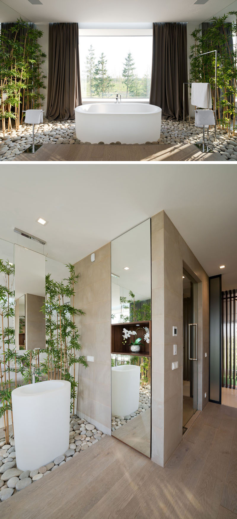 Bathroom Design Idea - Create a Spa-Like Bathroom At Home // Include touches of nature.