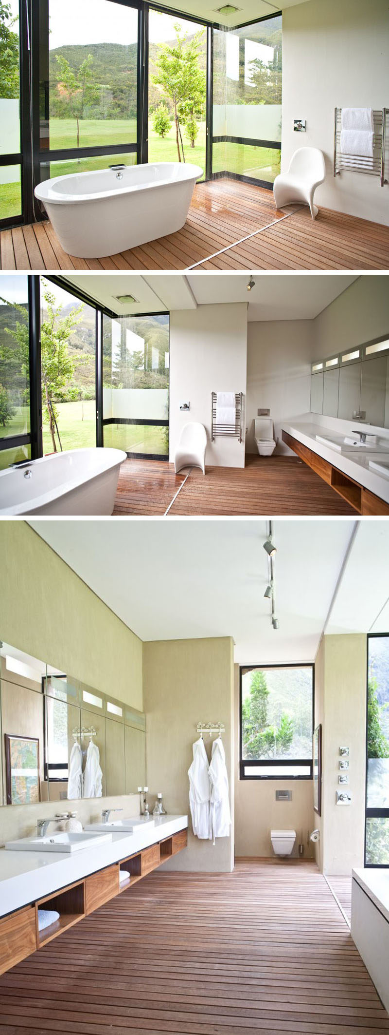Bathroom Design Idea - Create a Spa-Like Bathroom At Home // Install a rainfall shower head.